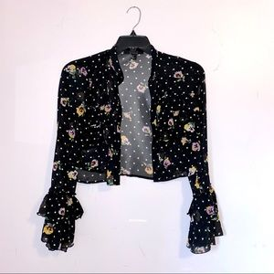 Forever 21 Ruffled Crop Top Long Sleeves